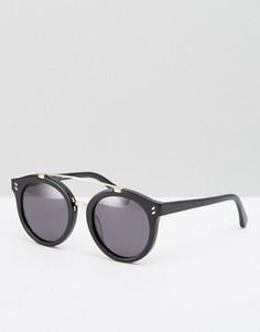 Круглые солнцезащитные очки с металлической планкой Stella McCartney - Черный
