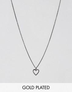 Ожерелье с подвеской-сердцем Pilgrim - Серый
