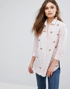 Рубашка в полоску с вышивкой New Look - Розовый