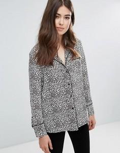 Рубашка в пижамном стиле со звериным принтом Only - Черный