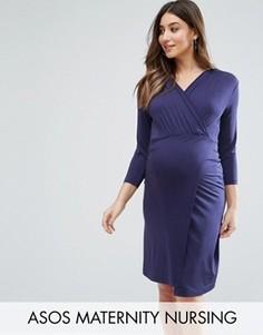 Платье мини с запахом ASOS Maternity NURSING - Темно-синий