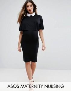 Платье с воротником ASOS Maternity NURSING - Черный