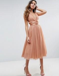 Платье миди для выпускного из тюля с лентой ASOS PREMIUM - Розовый