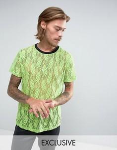 Зеленая кружевная футболка Reclaimed Vintage Inspired - Зеленый