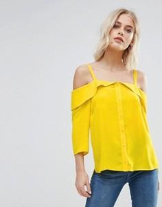 Ярусный топ с открытыми плечами New Look - Желтый