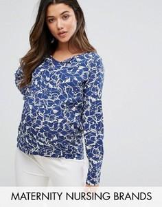 Рубашка с принтом Mamalicious - Синий Mama.Licious