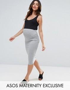 Трикотажная юбка-карандаш миди ASOS Maternity - Серый