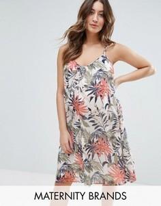 Тканое платье без рукавов с пальмовым принтом Mama.Licious - Мульти