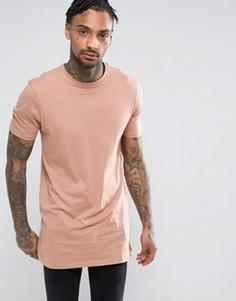 Розовая удлиненная футболка New Look - Розовый