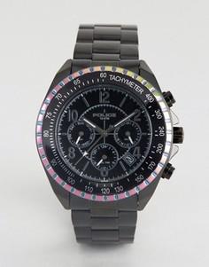 Часы с многофункциональным циферблатом и окантовкой радужного цвета Police - Черный