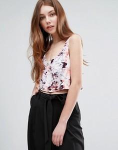 Кроп-топ с цветочным принтом Neon Rose - Мульти