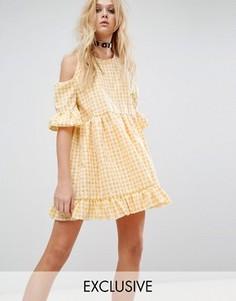 Платье с вырезами на плечах и цветочным принтом Milk It Vintage - Желтый