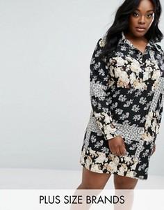 Платье-рубашка в стиле пэтчворк Boohoo Plus - Мульти