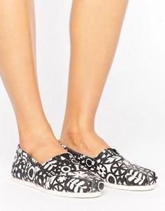 Слипоны с черно-белым цветочным принтом Toms - Черный