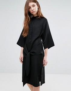 Платье-рубашка с завязками Neon Rose - Черный
