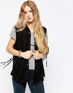 Черная рубашка без рукавов с бахромой Blank NYC Benefits - Черный