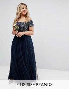 Платье макси с пайетками и юбкой из тюля Lovedrobe Luxe - Темно-синий