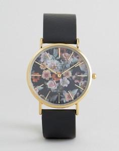 Часы с цветочным принтом и черным кожаным ремешком Reclaimed Vintage - Черный
