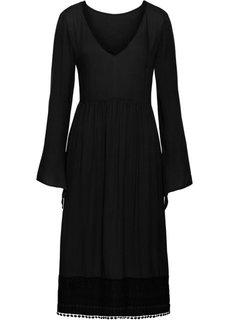 Платье с кружевом длины миди (черный) Bonprix