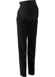 Для будущих мам: льняные брюки (черный) Bonprix
