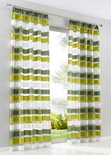 Гардина Баку (1 шт.), гофрированная тесьма (зеленый) Bonprix