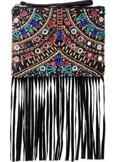 Клатч с бусинами, зеркальцами и бахромой (черный) Bonprix
