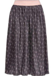 Плиссированная миди-юбка (шиферно-серый/винтажно-розовый с рисунком) Bonprix
