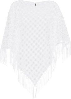 Кружевное пляжное пончо (белый) Bonprix
