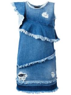 асимметричное джинсовое платье с бахромой Marco Bologna