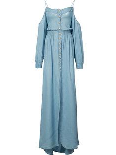 длинное платье с открытыми плечами Balmain