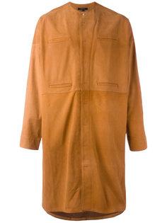 Пальто без воротника с потайной застежкой Qasimi