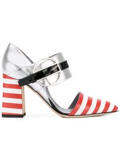 полосатые туфли с ремешком Pollini