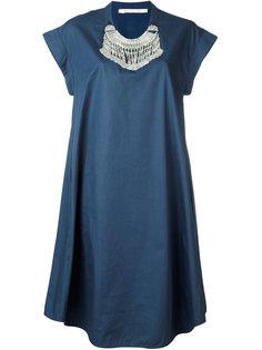 платье свободного кроя с отделкой у выреза Miahatami