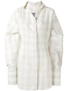 рубашка в клетку с объемными манжетами Jacquemus