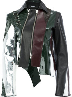 panelled leather jacket Yang Li