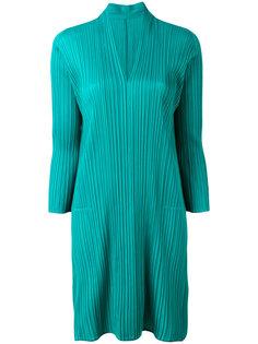 плиссированное платье с V-образным вырезом  Pleats Please By Issey Miyake