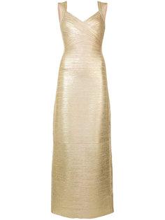 v-neck gown Hervé Léger