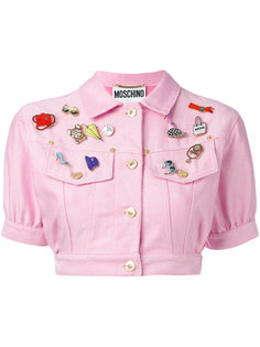 cropped denim badge jacket Moschino Vintage