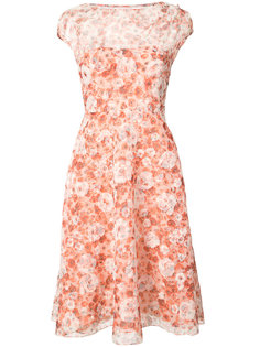 short sleeve floral midi dress Lela Rose