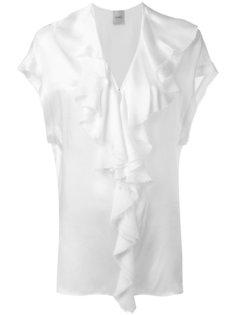 блузка с оборкой и V-образным вырезом  Nude