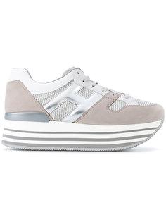 кроссовки на полосатой платформе  Hogan