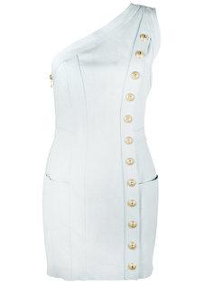 джинсовое мини-платье на одно плечо Balmain