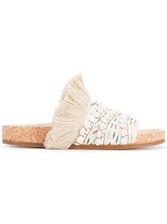 плетеные сандалии с бахромой Chloé