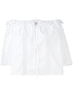 блузка с вышивкой и открытыми плечами Temperley London