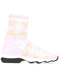 вязаные кроссовки с панельным дизайном Fendi