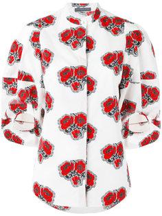 рубашка с рисунком из маков Alexander McQueen