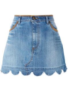 джинсовая юбка с фестонами Red Valentino