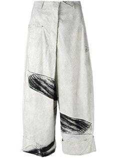 укороченные брюки с принтом  Rundholz