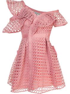 кружевное платье на пуговицах спереди Self-Portrait