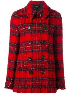 пиджак в шотландскую клетку с необработанными краями Comme Des Garçons Vintage